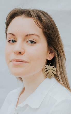 Hoop Earrings With Monstera Leaves In Gold Tone Brass by Ohemaa Jewellery Product photo