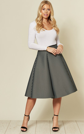 Neo Striped Midi Skirt In Black by Twist and Turn Product photo