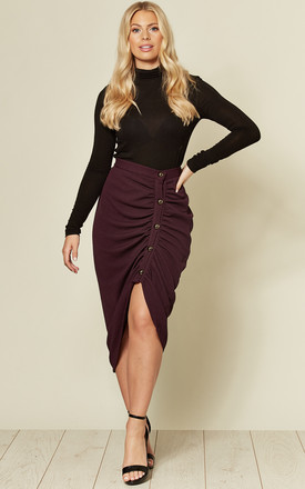 Ruched Purple Pencil Skirt With Buttons by Twist and Turn Product photo