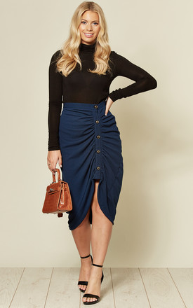 Ruched Blue Pencil Skirt With Buttons by Twist and Turn Product photo
