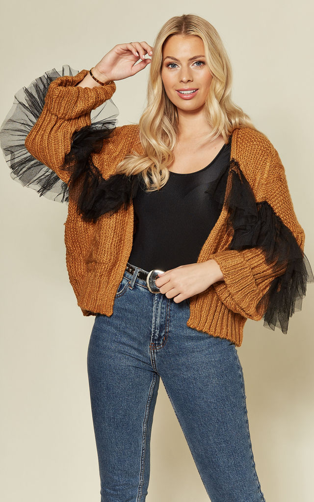 Rust Cable knit cardi with frill by Twist and Turn