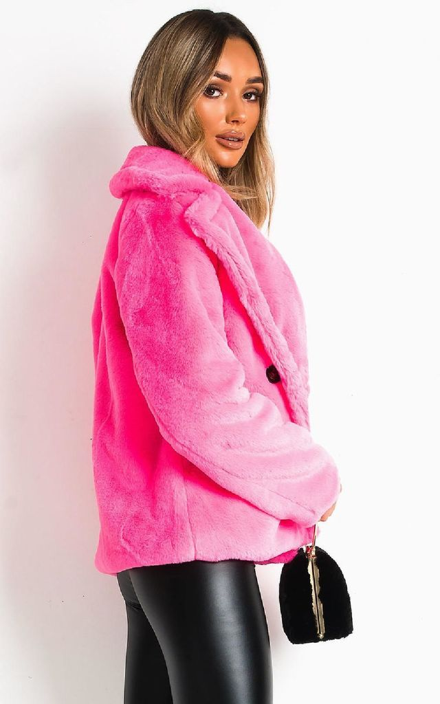 Cindy Faux Fur Coat Fuschia by IKRUSH