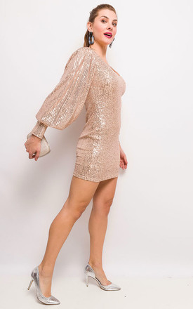 The Melrose Gold Sequin Dress by Brunch Club Girls. Product photo