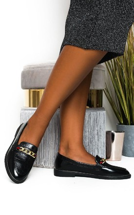 Riley Faux Leather Chain Brogue Flats Black by IKRUSH