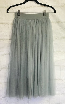 Grey Tulle Layered Midi Skirt by Pink Lemonade Boutique Product photo