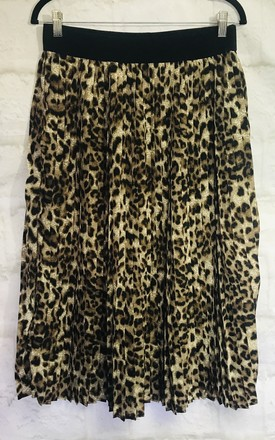 Leopard Print Pleated Midi Skirt by Pink Lemonade Boutique Product photo