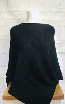 Star Poncho In Black by Pink Lemonade Boutique Product photo