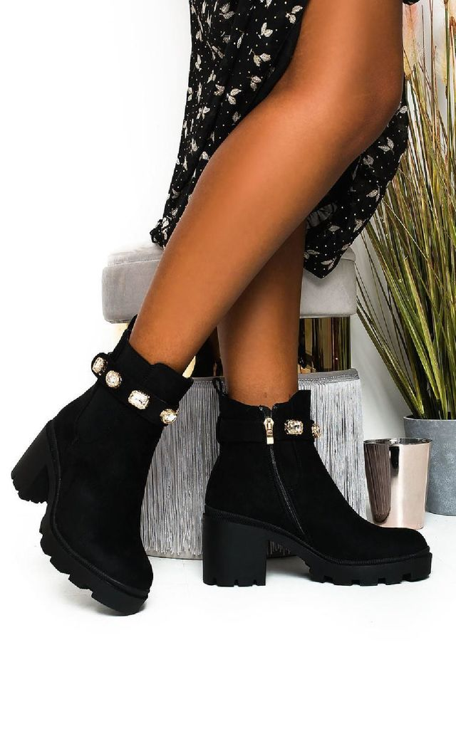 Tia Jewelled Chelsea Ankle Boots in Black by IKRUSH