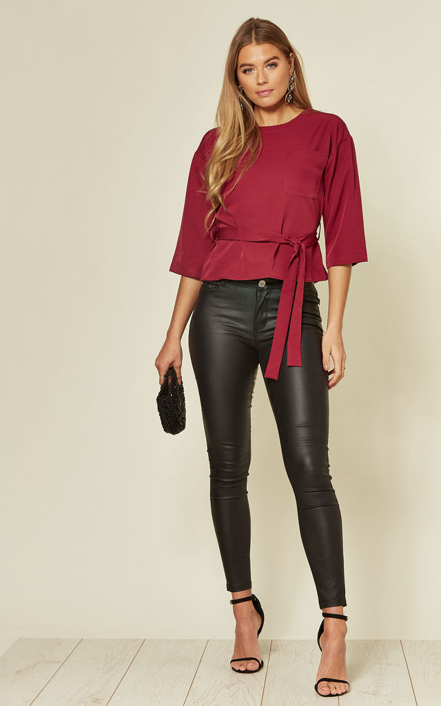 Wine 3/4 sleeve top with belt detail by MISSTRUTH