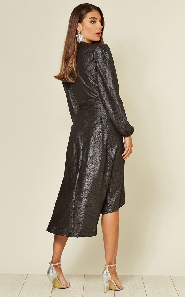 Long Sleeve Wrap Dress In Black Glossy Sparkles by Lanti