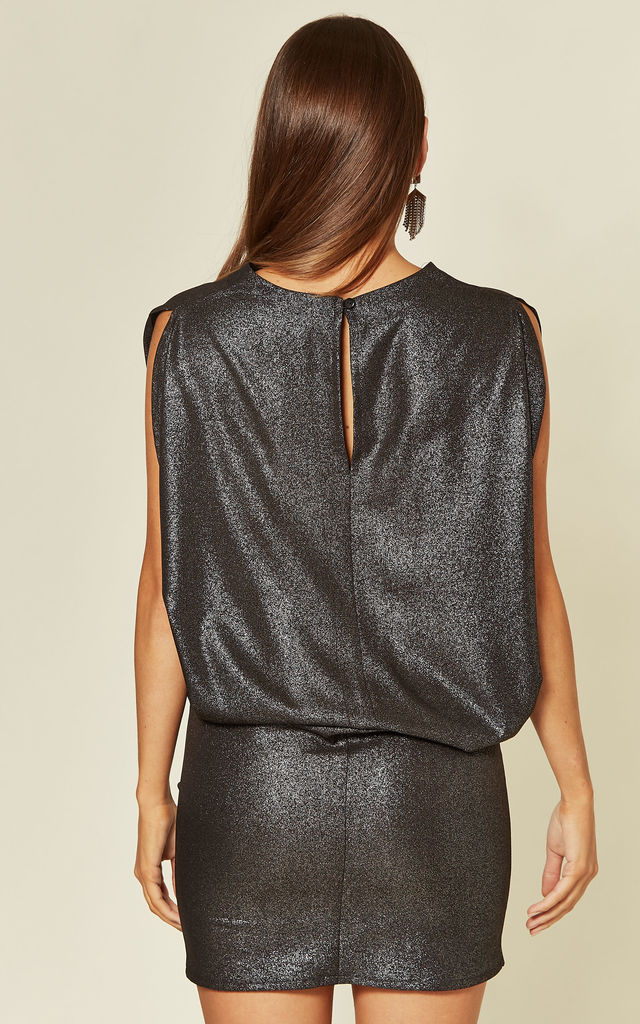 MINI DRESS WITH DRAPE DETAIL IN BLACK GLOSSY SPARKLES by Lanti