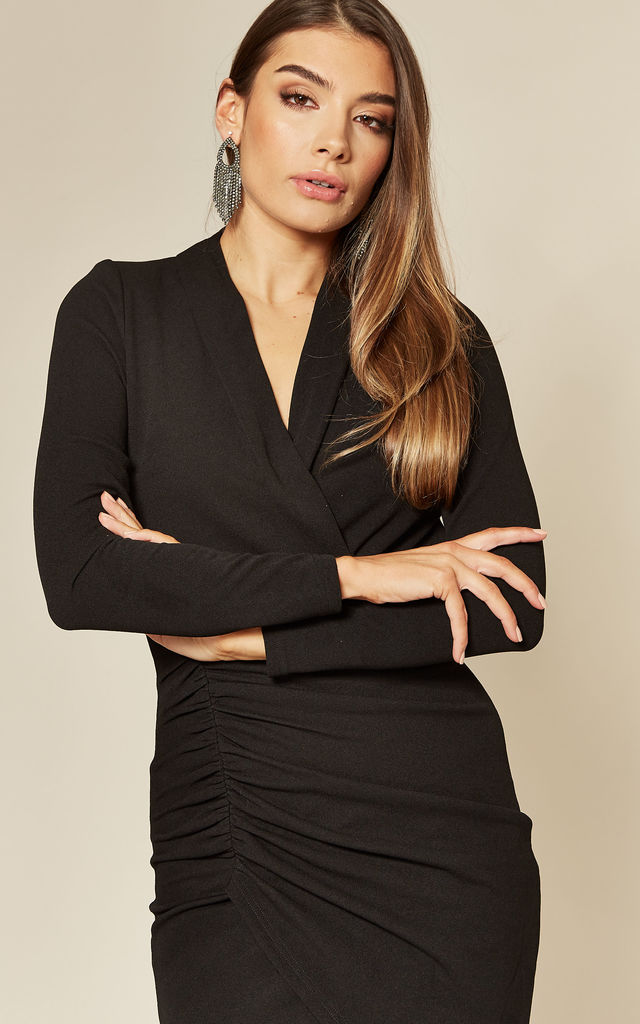 Black Long Sleeve Midi Ruched Dress by Skirt and Stiletto