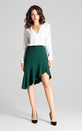 Green Asymmetrical Skirt With Frill by LENITIF