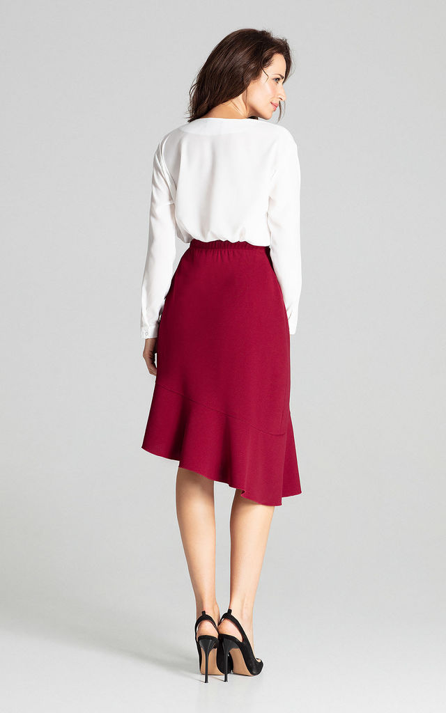 Deep Red Asymmetrical Skirt With Frill by LENITIF