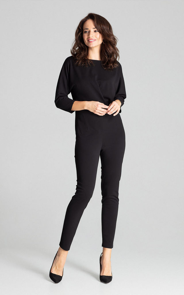 Black Jumpsuit With 3/4 Sleeves by LENITIF