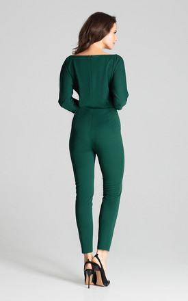 Green Jumpsuit With 3/4 Sleeves by LENITIF