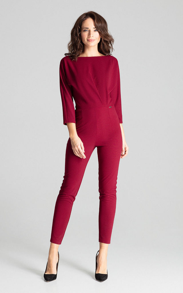 Deep Red Jumpsuit With 3/4 Sleeves by LENITIF