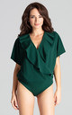 Green Bodysuit With Short Sleeves by LENITIF
