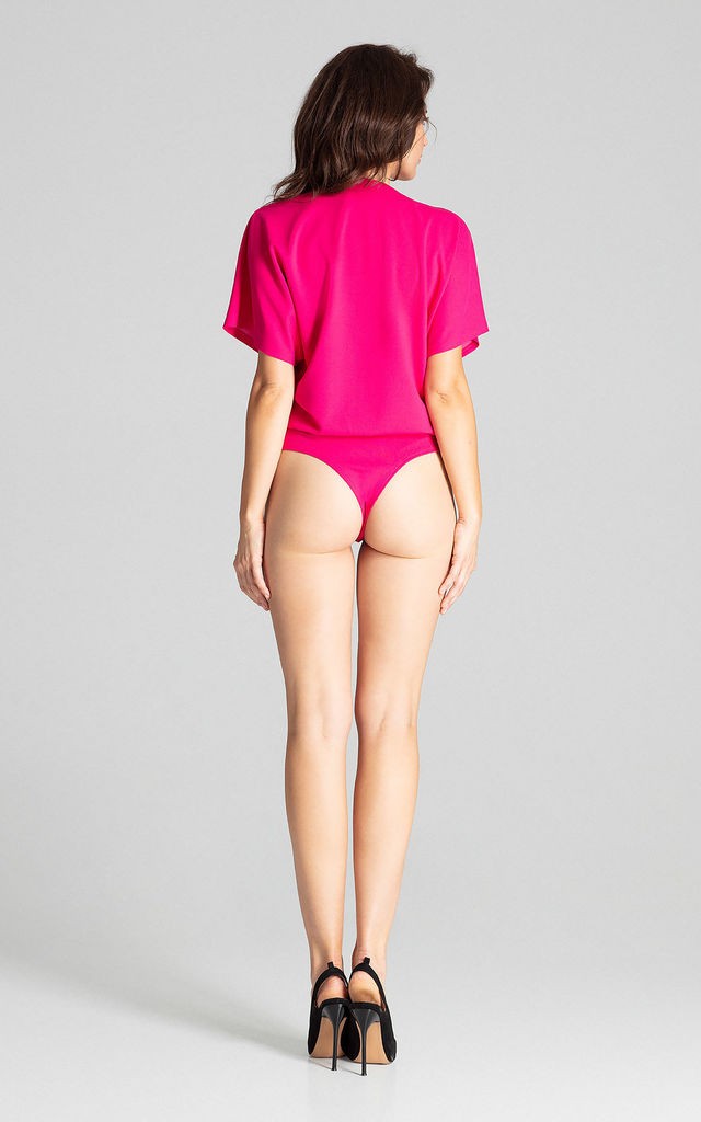 Fuchsia Bodysuit With Short Sleeves by LENITIF