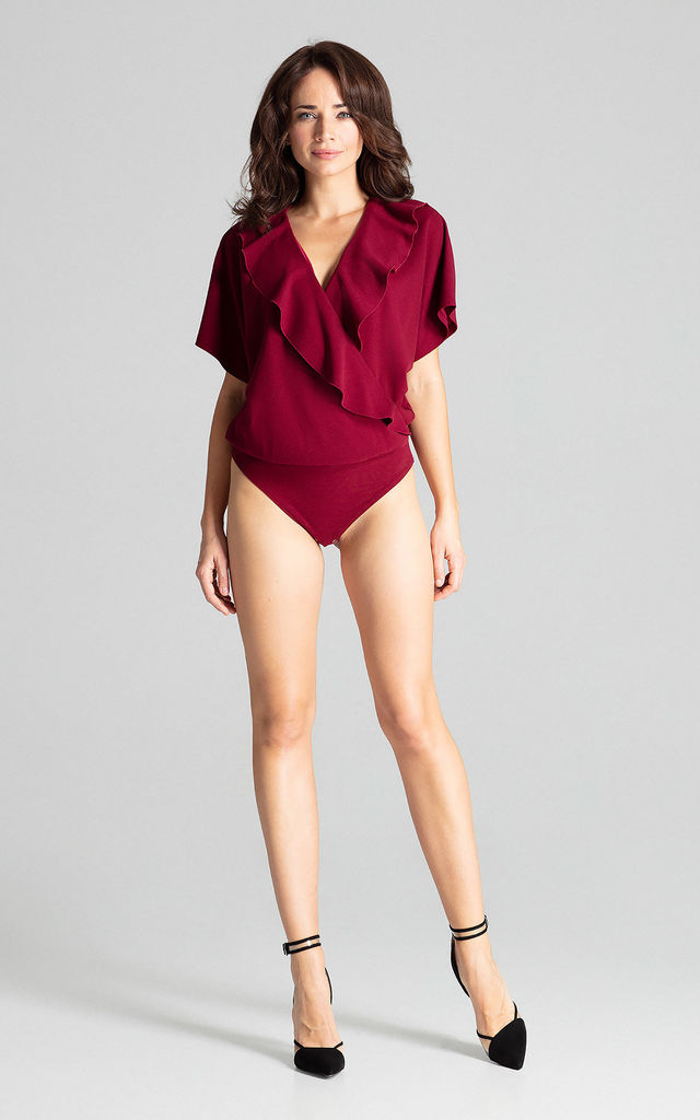 Deep Red Bodysuit With Short Sleeves by LENITIF