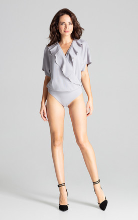 Grey Bodysuit With Short Sleeves by LENITIF