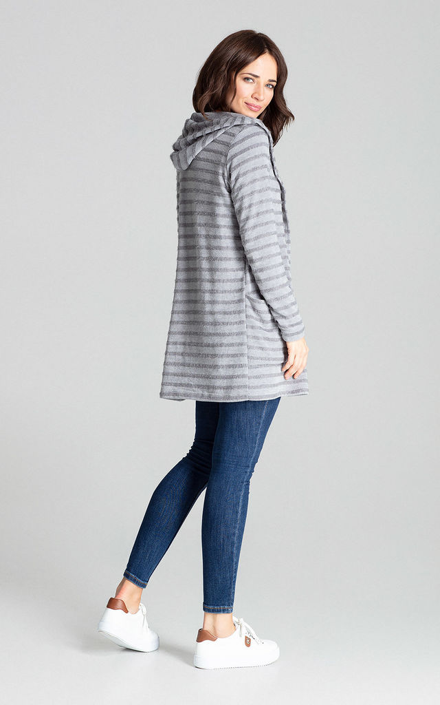 Grey Hooded Sweater by LENITIF