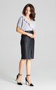 Black Eco-leather Pencil Midi Skirt by LENITIF