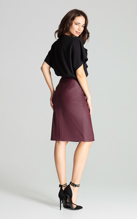 Deep Red Eco-leather Pencil Midi Skirt by LENITIF