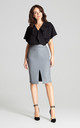 Grey Eco-leather Pencil Midi Skirt by LENITIF