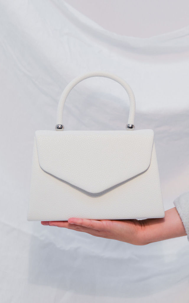 Faux leather mini envelope tote bag white by LILY LULU FASHION