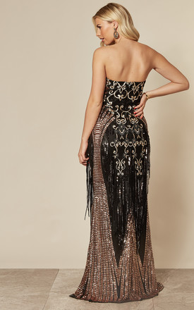 LUXE Sweetheart Sequin Fringe Maxi Dress In Champagne by Goddiva