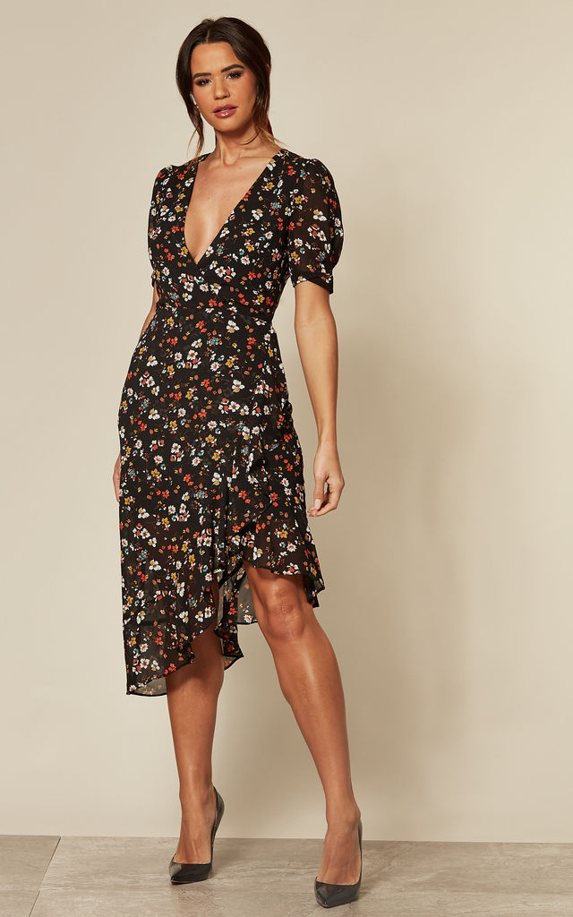 Black Floral Midi Dress With Asymmetric Hem by Another Look
