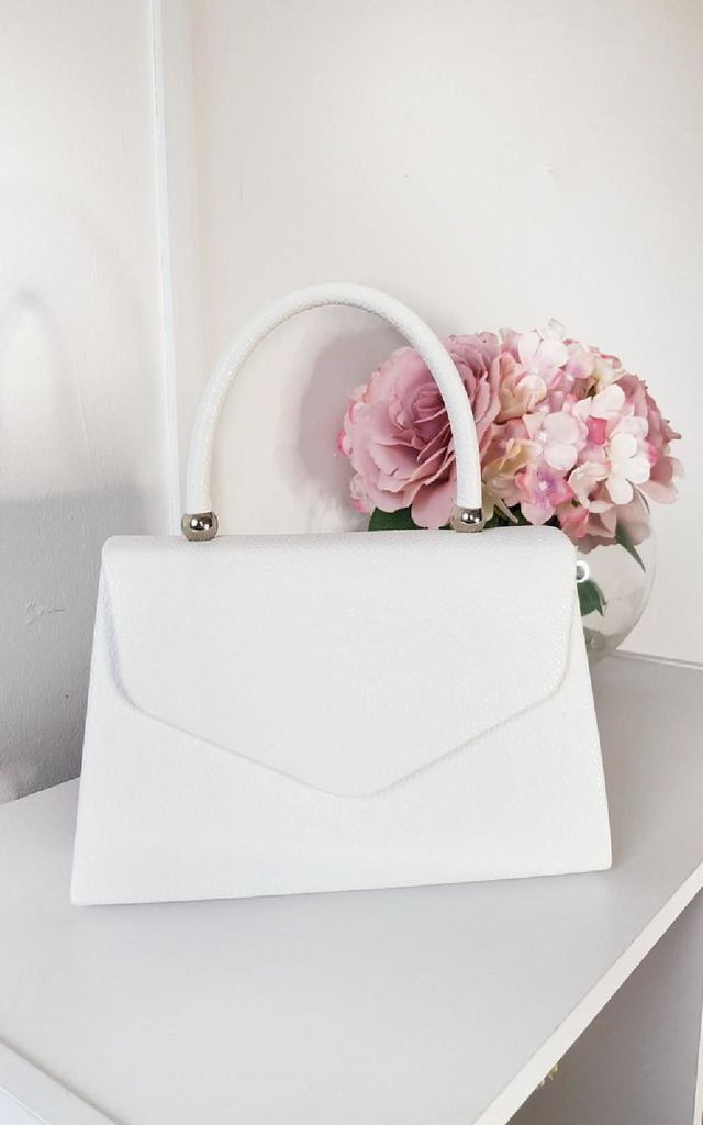 Selena Faux Leather Handbag in White by IKRUSH