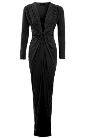 Clara - Black Glittery Plunge Front Knot Floor-Length Dress by Sarvin