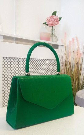Selena Faux Leather Handbag in Green by IKRUSH