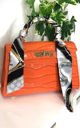 Jasmina Croc Print Handbag in Orange by IKRUSH
