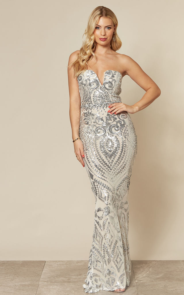 KENZA Silver Strapless Sequin Fishtail Maxi Dress by Nazz Collection