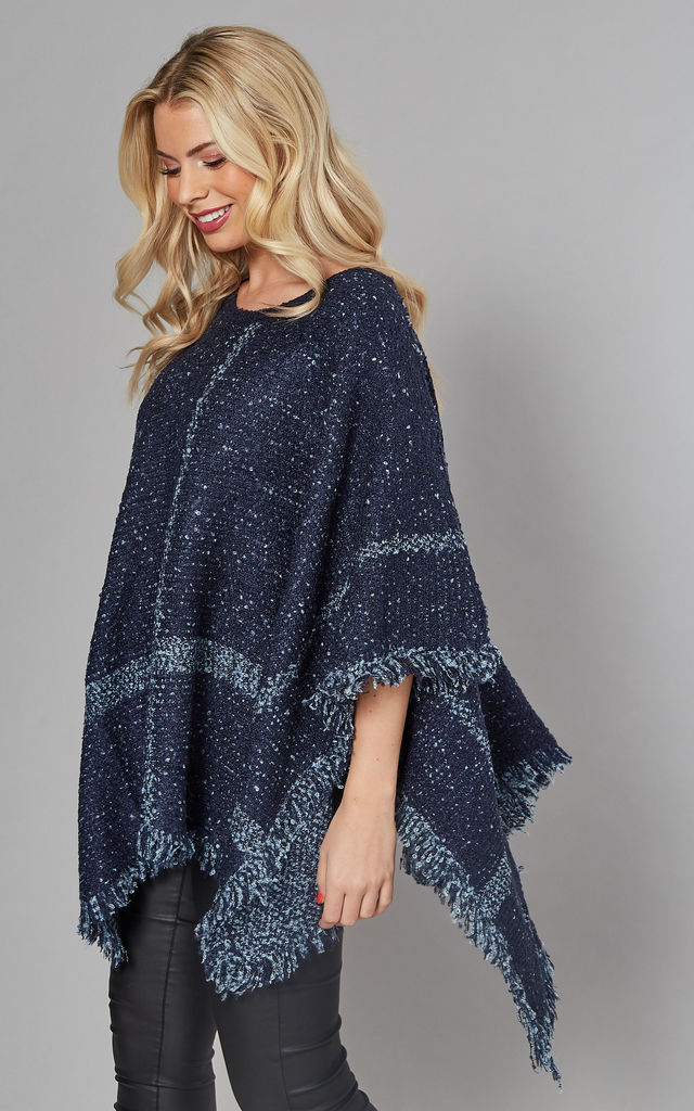 CHECKED BOUCLE PONCHO IN NAVY BLUE by Malissa J Collection
