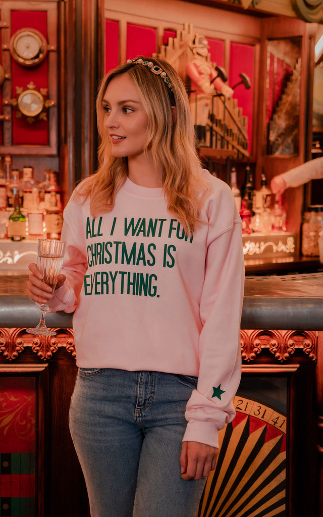 PINK CHRISTMAS SWEATSHIRT WITH ALL I WANT SLOGAN by Rock On Ruby