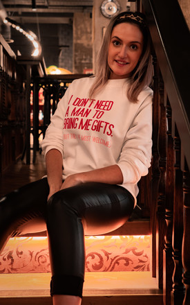 Pink Christmas Sweatshirt with I Don't Need A Man Feminist Slogan by Rock On Ruby