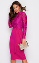 Abbey High Neck Long Sleeves Midi Dress Magenta by Girl In Mind