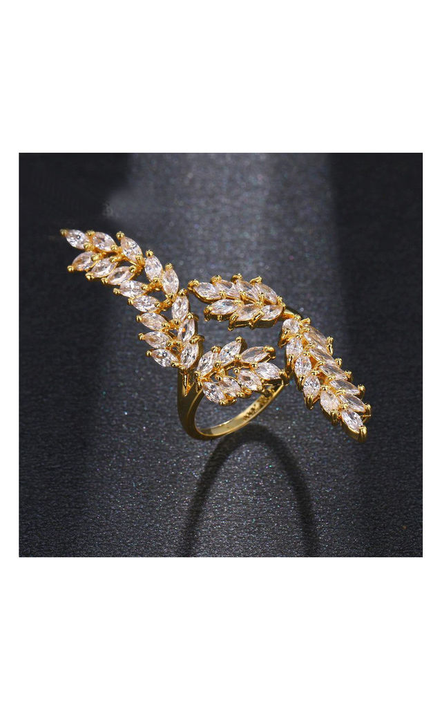 Crystal Leaf Ring in Gold by Always Chic