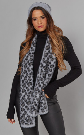 LEOPARD HAT AND SCARF SET IN GREY by Malissa J Collection