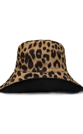 Reversible Bucket Hat in Leopard Print & Black by My Accessories London
