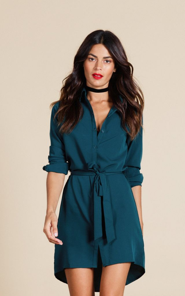 Mini Shirt Dress in Pine Green by Dancing Leopard