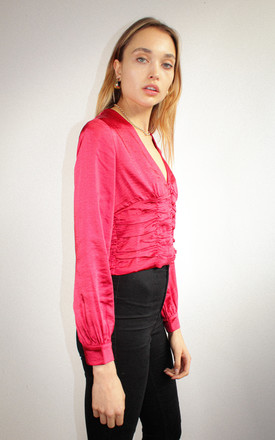 Lenora Red Gathered Satin Blouse by Goldie