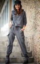 Relaxed Fit Trousers with Pockets in Dark Grey by AWAMA