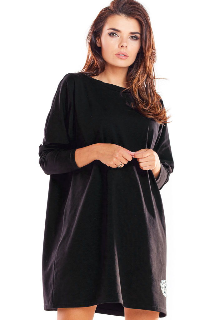 Oversized Mini Dress with Long Sleeves in Black by AWAMA