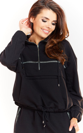 Black Hoodie with Half Zip by AWAMA