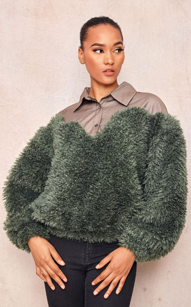 Green Oversized Faux Fur Sweater by April & Alex